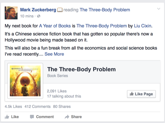 Mark Zuckerberg reads The Three-Body Problem
